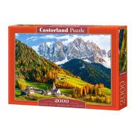 Puzzle 2000 piese Church of St. Magdalena Dolomites - Castorland