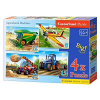 Puzzle 4 in 1 (18+12+15+20) Agricultural Machines - Castorland