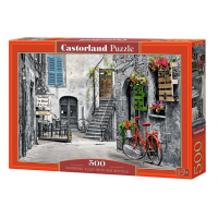Puzzle 500 Charming Alley with Red Bicycle - Castorland