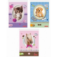 Bloc notes A6 46 file pritty pets AR 1008903/5 Herlitz