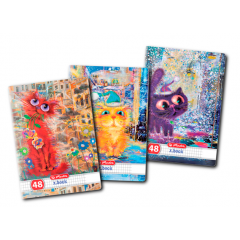 Caiet A5, 48 file, 70g/mp, patratele, motiv Crazy Cats 9484250 - Herlitz