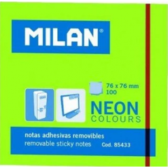 Bloc notes adeziv Neon Verde 76 x 76 mm, 100 file - Milan