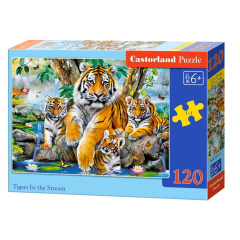Puzzle 120 piese Tigers By The Stream - Castorland