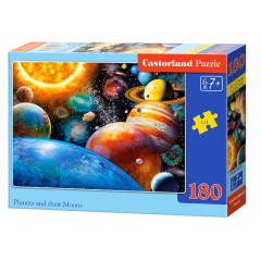 Puzzle 180 piese Planets And Their Moons - Castorland