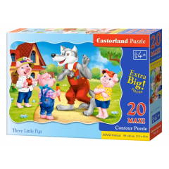 Puzzle 20 piese Maxi Three Little Pigs - Castorland