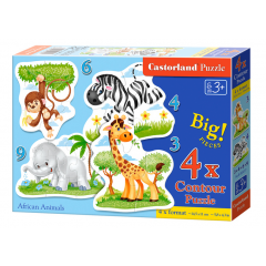 Puzzle 4 In 1 (3+4+6+9) African Animals - Castorland