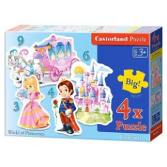 Puzzle 4 In 1 (3+4+6+9) World Of Princesses - Castorland