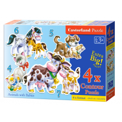 Puzzle 4 In 1 (4+5+6+7) Animals With Babies - Castorland