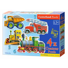 Puzzle 4 In 1 (4+5+6+7) Vehicles - Castorland