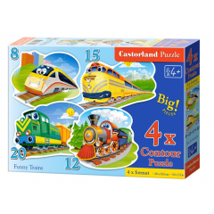 Puzzle 4 In 1 (8+12+15+20) Funny Trains - Castorland