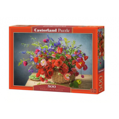 Puzzle 500 piese Bouquet With Puppies - Castorland
