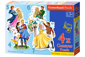 Puzzle 4 In 1 Princesses in Love - Castorland