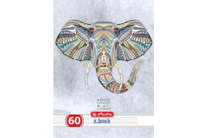 Caiet A4, 60 file, 70g/mp, dictando, colturi rotunjite, motiv Ethnic Animals 9475890 - Herlitz