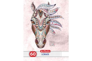 Caiet A4, 60 file, 70g/mp, patratele, colturi rotunjite, motiv Ethnic Animals 9475900 - Herlitz