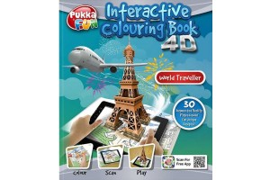 Pukka Fun 4D Interactive Colouring Book - WorlTraveller