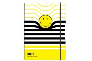 Caiet My.Book Flex A4 80gr Dictando+Patratele, Coperta Smiley  Elastic Negru 9478300